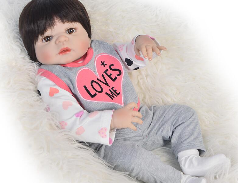 0 3M real baby clothes can wear 50 55cm Silicone Reborn Baby Doll Toys Simulation Victoria Baby Reborn Girl Baby Doll Girl toy in Dolls from Toys Hobbies