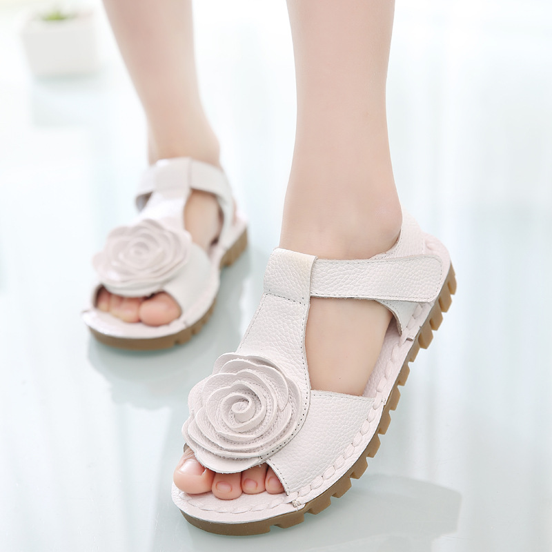 The first layer of leather sandals Korean girls flower girls large soft bottom sandal shoes 2016 summer new tide