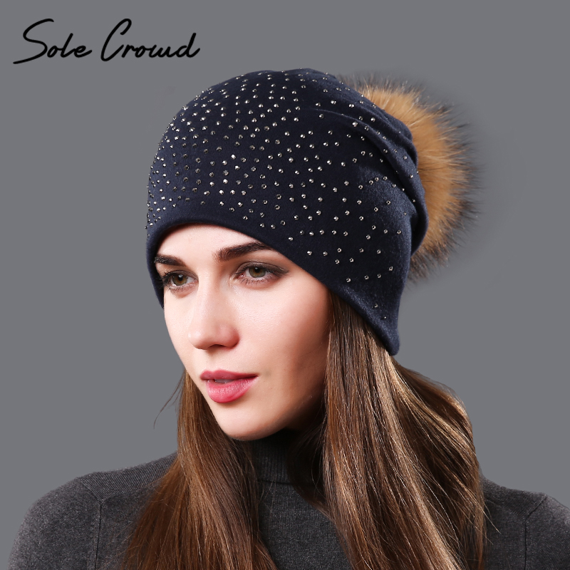 Sole Crowd 2017 fashion Rhinestone Autumn hat for Women beanies winter warm female cotton caps natural raccoon fur pom pom hats female caps for autumn