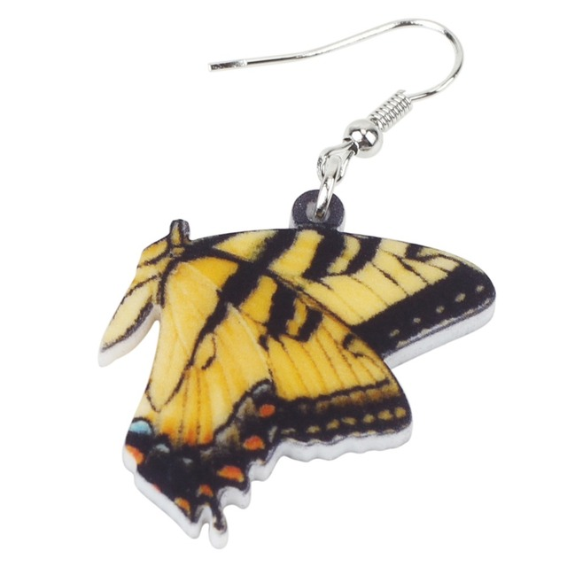WEVENI Acrylic Papilio Machaon Butterfly Earrings New Dangle Drop Symmetric Insect Jewelry For Women Girls Ladies Cute Gift Gift