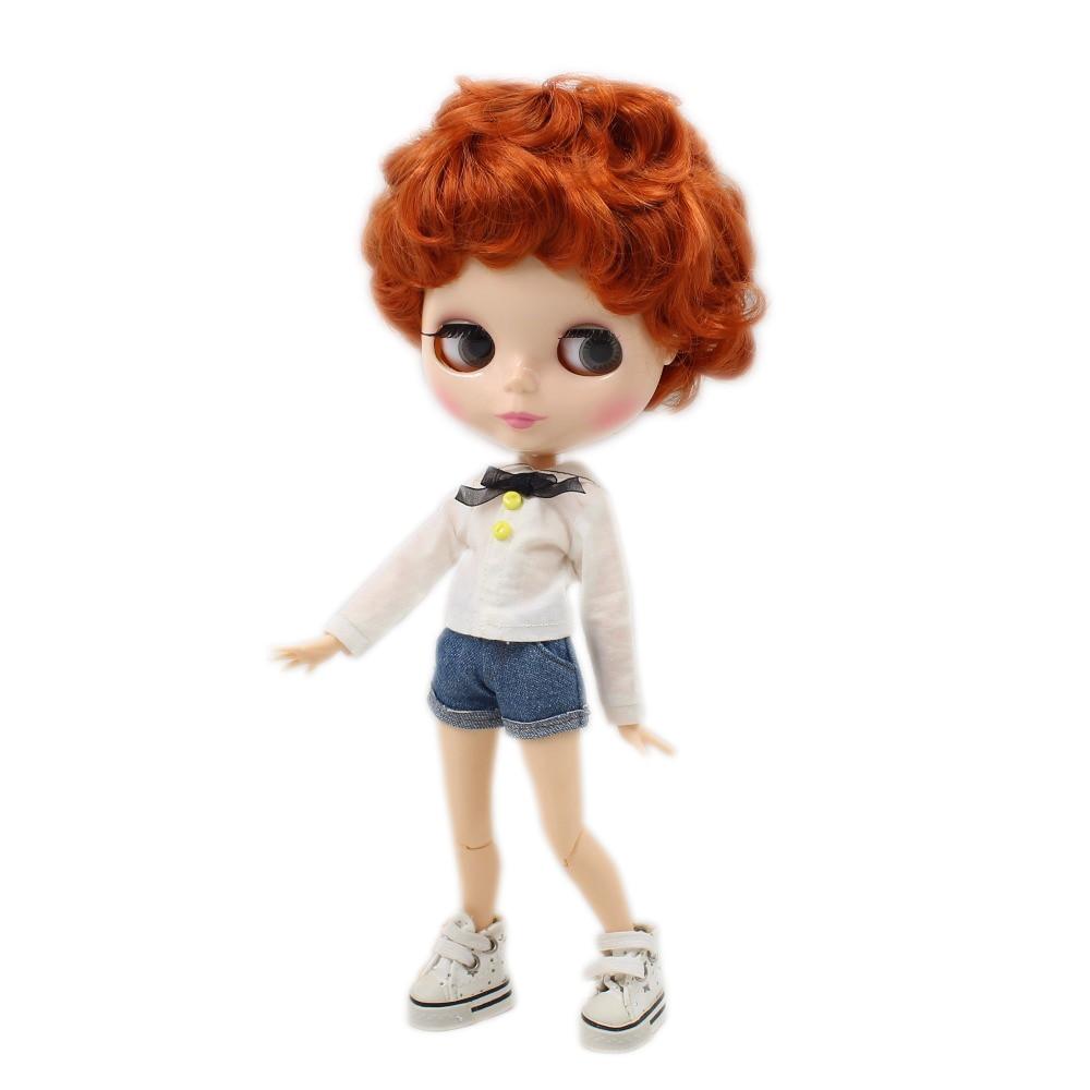 Oyuncaklar ve Hobi Ürünleri'ten Bebekler'de Buzlu fabrika blyth doll çocuk vücut doğal cilt kırmızı kahverengi saç kısa saç 1/6 30cm BL1207'da  Grup 1