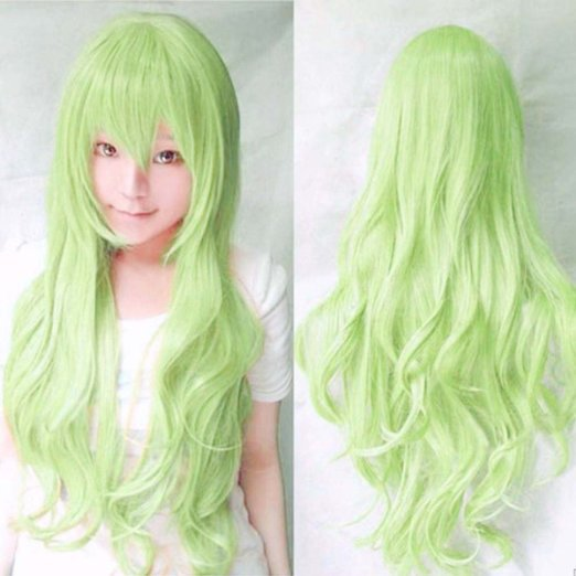 80 Cm Harajuku Anime Light Green Wig Cosplay Women Men Long Curly Wavy  Synthetic Hair Wigs Halloween Costume Peruca Perucas 24a4840140