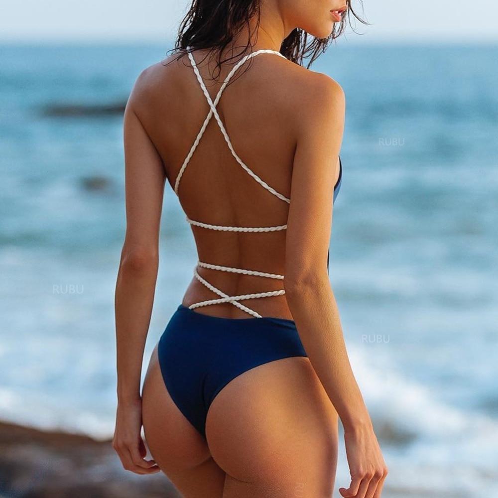 Buy 2018 Women Swimwear Sexy High Cut One Piece Swimsuit Backless Swim Suit Black White Thong Bathing Suit Female Monokini