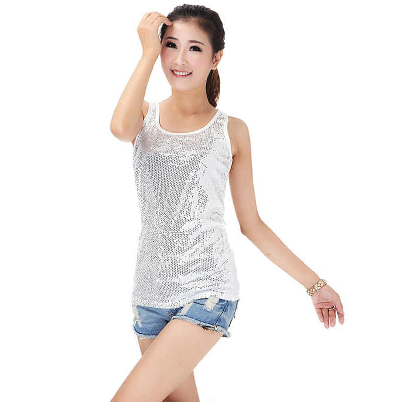 ... Sexy Lady s Camisole Spangle Sequin Sparkle Shell Tank Top Vest  Sleeveless T-Shirt White ... 565602a12d62