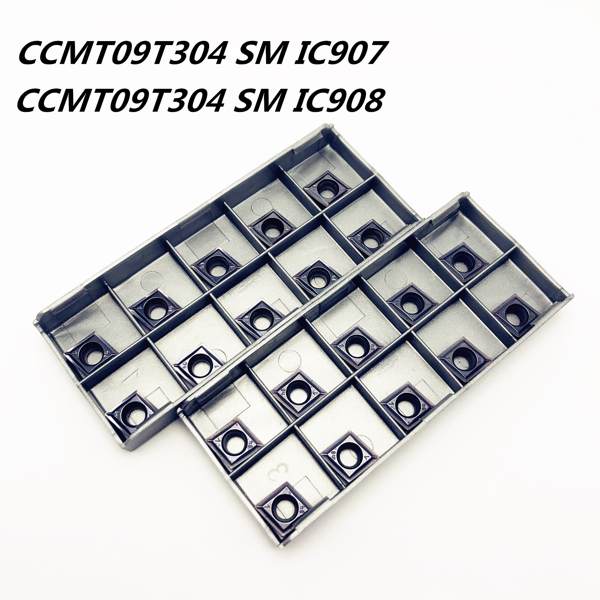 20PCS CCMT09 T304 SM IC907/908 High Precision Metal Turning Tool Carbide Insert CNC Machine Parts Tokarnyy Rotatable Cutter Head