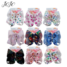 JOJO BOWS 1pc DIY Craft Supplies Large Unicorn Christmas Hair Bows For Girls With Clips Bowknot Handmade Crafts Accessories