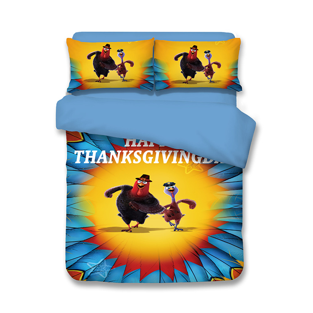 Happy Thanksgiving funny running turkey feathers Twin Size Kids ...