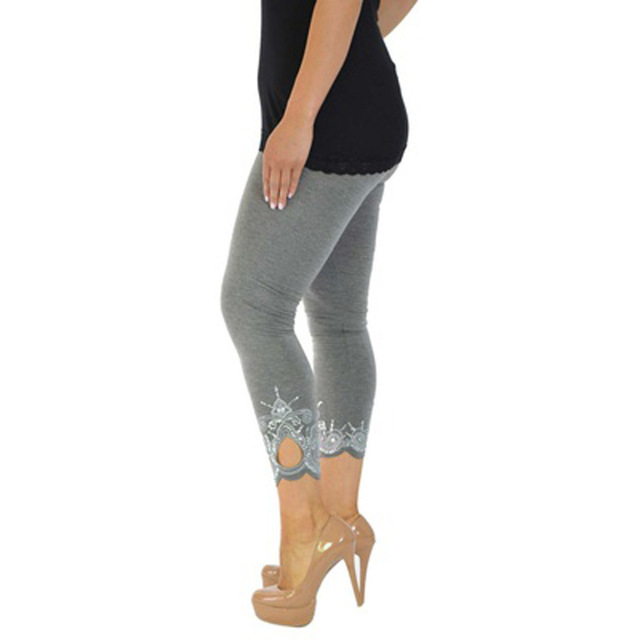 4XL 5XL плюс Размеры леггинсы 2018 женские хлопковые брюки кружева лоскутное отверстие облегающие брюки с принтом женская одежда белые облегающие леггинсы