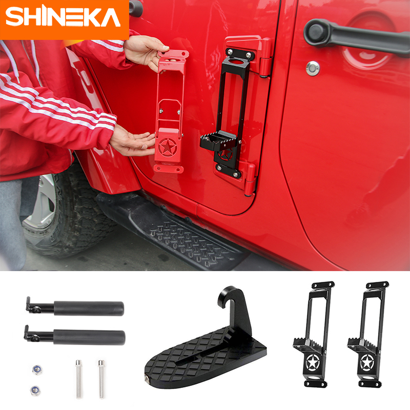 SHINEKA Pedal Multifunction Car Doorstep Car Door Latch Hook Folding Step Foot Pedal Ladder for Jeep Wrangler SUV Truck Roof