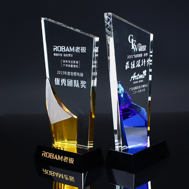 1 Piece Customized Logo and Words Crystal Trophy Broadsword Shape Glass Champions Award Cup Sports Souvenirs Competitions Awards green and amber color glass trophy sports events awards sport games awards champions league trophy