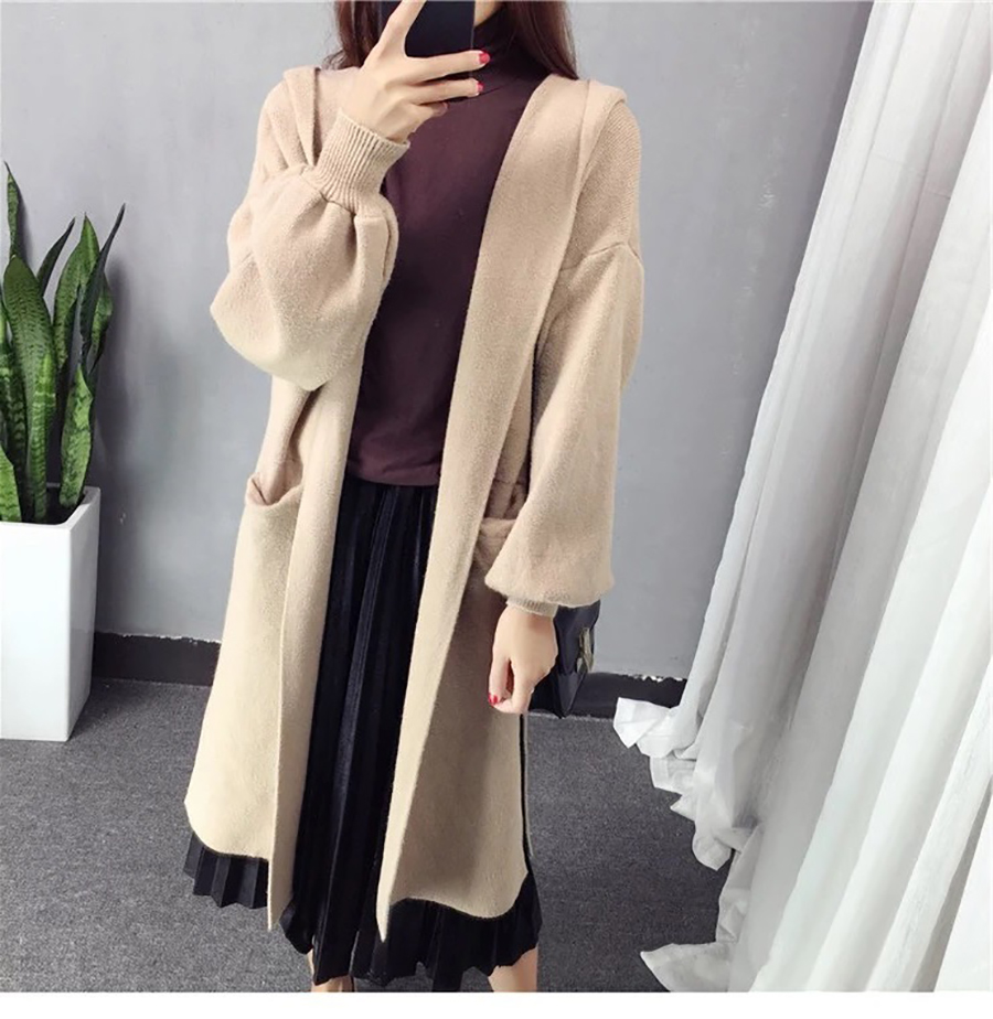 Autumn Winter Women Long Cardigans Hooded Sweaters Casual Knitted Outwear Puff Sleeves for Fashion Girls Female Warm Clothing (7)