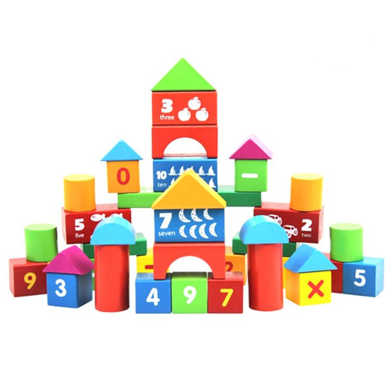100 PCS DIY Building Blocks Alphabet Letters Numbers Arithmetic Signs Wooden Educational Toys for Kids Child Christmas Gifts