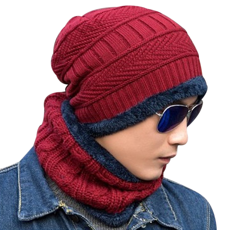 Fashion Unisex Knitted Hat Beanies Knit Men Warm Winter Sets Hat + Scarf Collar Caps Women Skullies Bonnet Beanie Casual Baggy new gorros 2017 fashion casual men skullies beanies winter hats keep warm women knitted stripe hat warm baggy balaclava caps