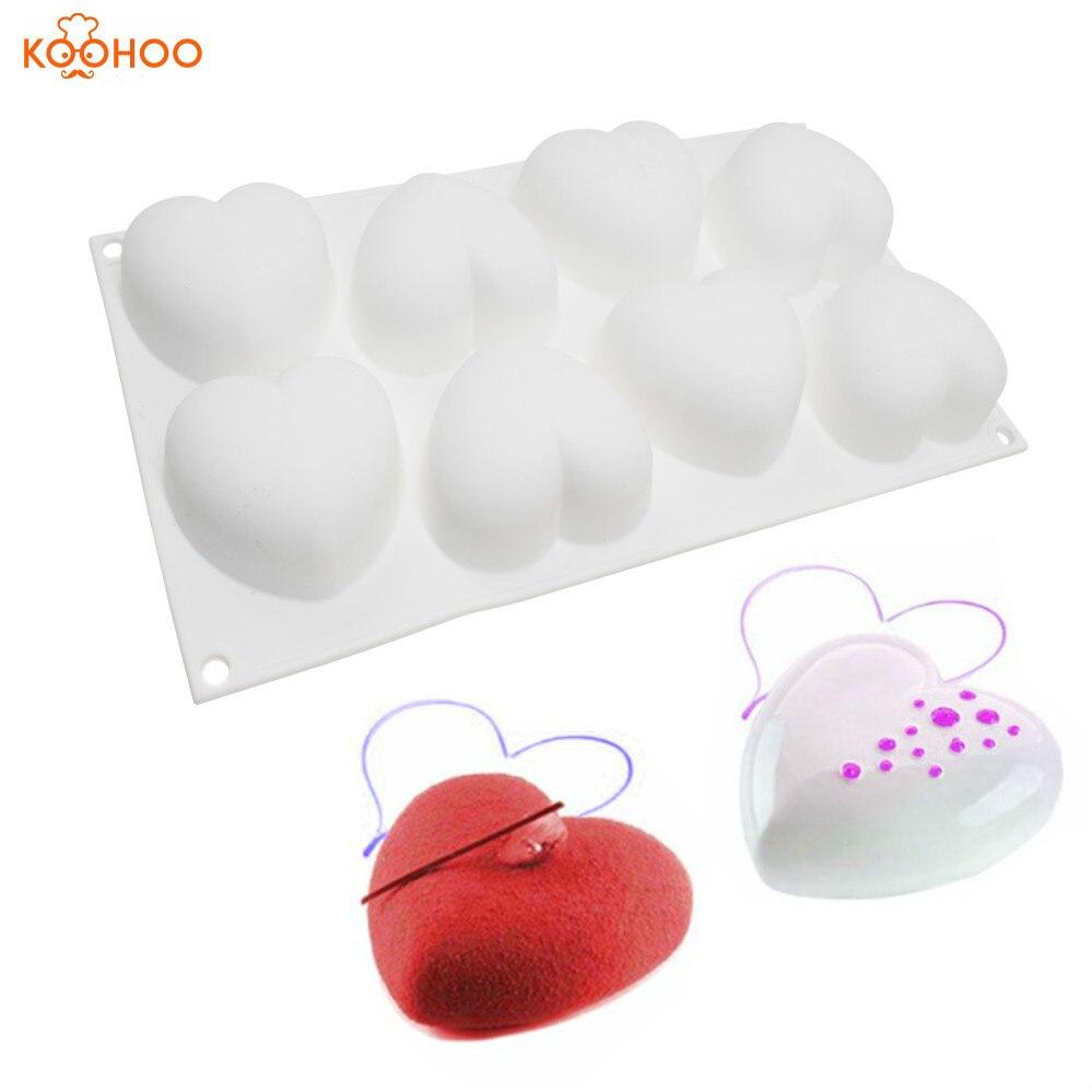 ᐃKoohoo silicona mousse pastel molde 8 agujeros corazón moldes para ...