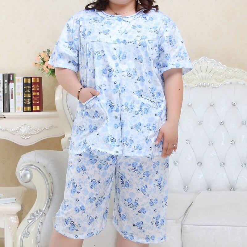 Plus Größe Xxxxxl Shorts Frauen Pyjamas Sets ärmel Baumwolle Sommer Pijama Nachtwäsche Frische Floral Frauen Pyjamas 130 Kg Damen-nachtwäsche