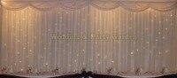 6 м/20ft (Ш) x 3 м/10FT (H) белое свадебное фон занавес с свет Свадебные украшения