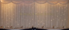 6m 20ft w x 3m 10ft h White wedding backdrop stage curtain with LED light Wedding