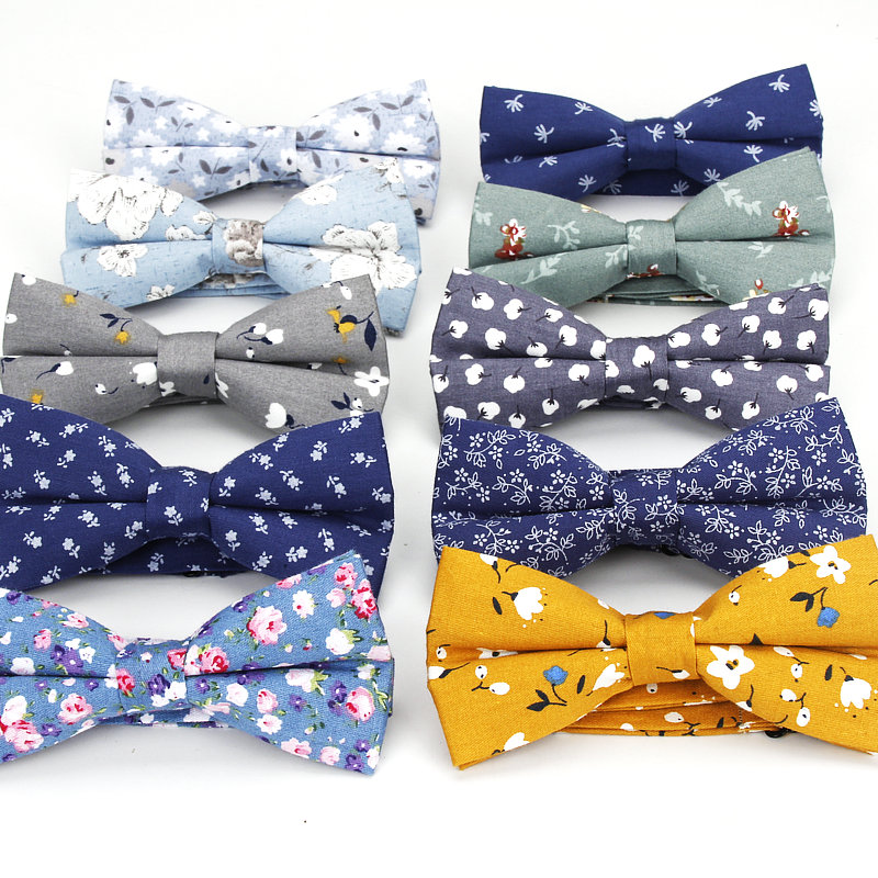 Brand New Men's Floral Bow Ties Cotton Print Bowtie Neckties For Men Wedding Party Business Suits Gravata Navy Butterfly Cravats