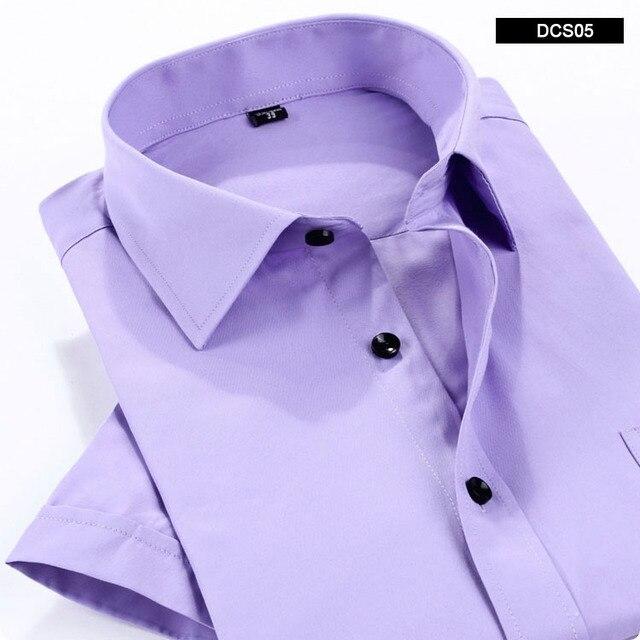 2015 мужская с коротким рукавом рубашки твердые бизнес формальный рубашка для человека высокое качество белая рубашка мужчины 7 цвета