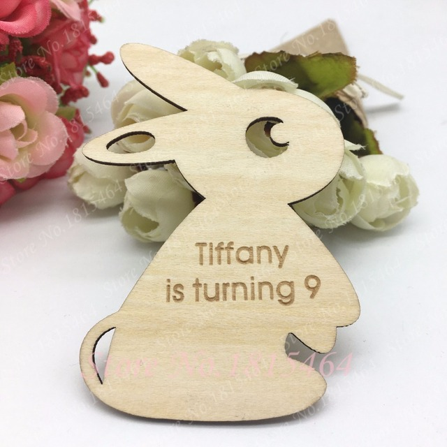 US $13 99  60pcs Custom Rabbit Wooden Name Tags,Personalised Wood Save the  Date Cards,Gift Thank you Tags,Easter Rustic Favours Decoration-in Party