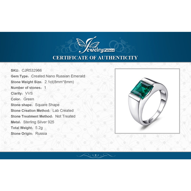 Jewelrypalace Men's Square 2.2ct Created Emerald Engagement Ring 925 Sterling Sliver Vintage Jewelry Gift