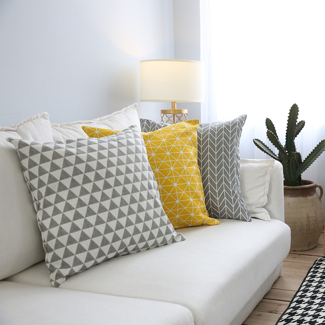 modern sofa cushion cover yellow grey cotton linen decorative throw pillow cover plaid geometry. Black Bedroom Furniture Sets. Home Design Ideas