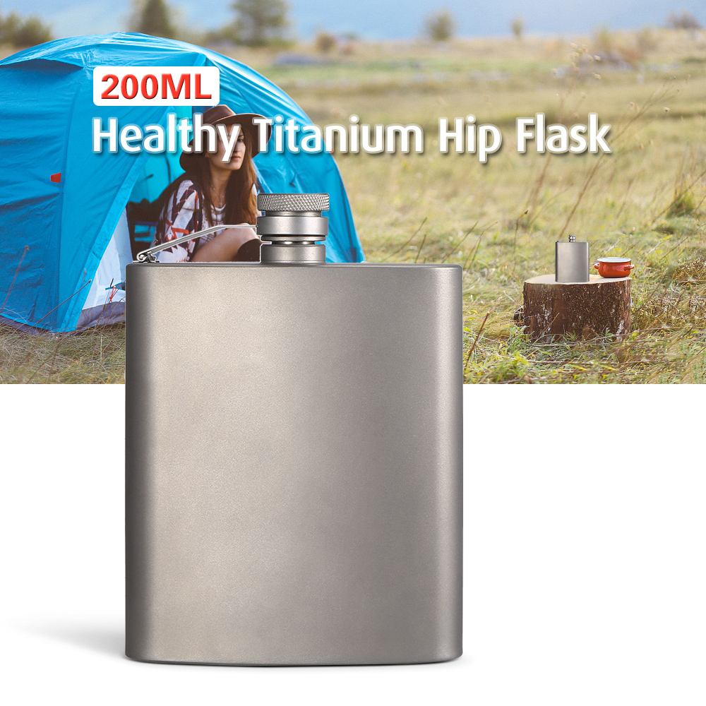 Lixada 200ml Lightweight Titanium Wine Flask Outdoor Travel Hip Flask Camping Backpack Alcohol Drink Wine Beer