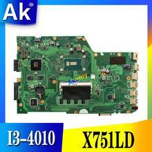 AK X751LD материнской I3-4010 GT820 DDR3 ForASUS R752L X751L X751LN Материнская плата ноутбука X751LD плата X751LD материнская плата