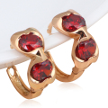 Hotselling gold plated Red Garnet zircon crystal Crystal Earrings Health Nickel & Lead free Fashion jewelry JE935A