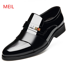 MEIL Brand Classic Man Pointed Toe Dress Shoes Mens Patent Leather Black Wedding Oxford Formal Large Size 48