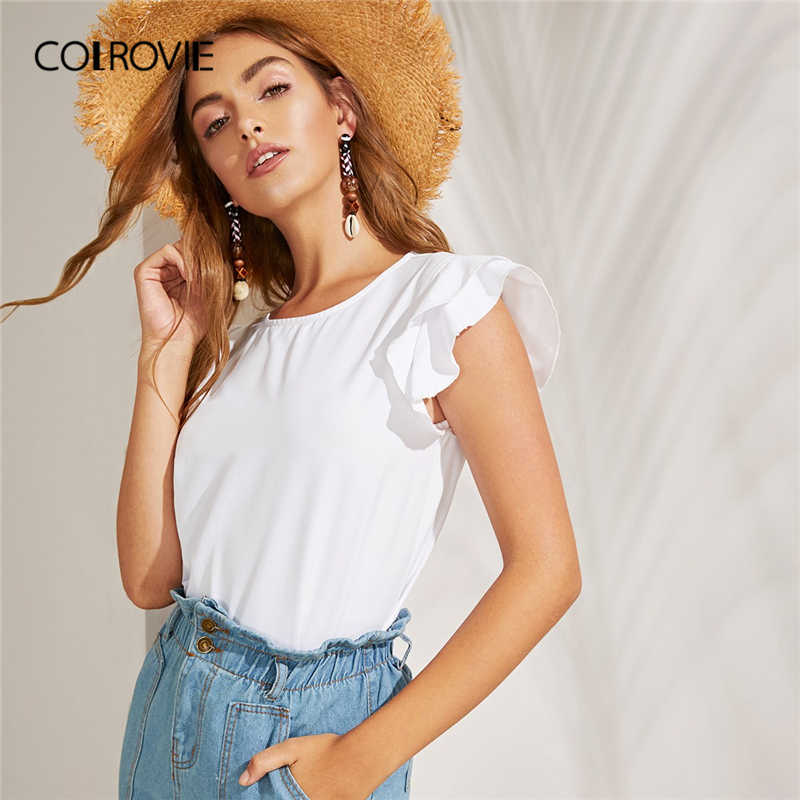 COLROVIE White Solid Tiered Layer Ruffle Armhole Boho Blouse Shirts Women 2019 Summer Cap Sleeve Vacation Casual Ladies Tops