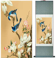 Картина с птицами и цветами для дома, офисное украшение, китайская живопись в свитке, художественная китайская живопись с принтом цветов
