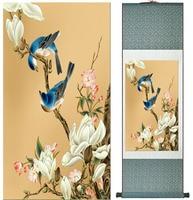 Vogels en bloem Home Office Decoratie Chinese rolschildering bloem art Chinese paintingPrinted schilderen