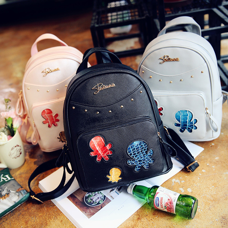 3 in 1 high quality Twill PU cartoon octopus student school backpack with purses in one