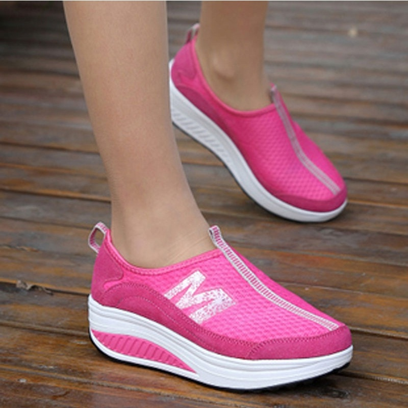 Summer breathable toning shoes women slimming increased fitness shoes #B1457