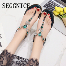Women Sandals 2019 Summer Peep-toe Low Shoes Bohemia Ladies Shoes Fashion Flip Flops Casual Flat Rhinestones Chains Sandals women flat shoes bandage bohemia leisure lady sandals peep toe outdoor sandals 0411 drop shipping