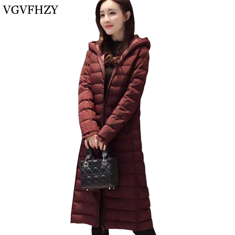 2017 New Winter Collection Women White duck   down     Down     Coat   Long Jacket Warm High Quality Woman   Down   Hooded Female Parka LY654