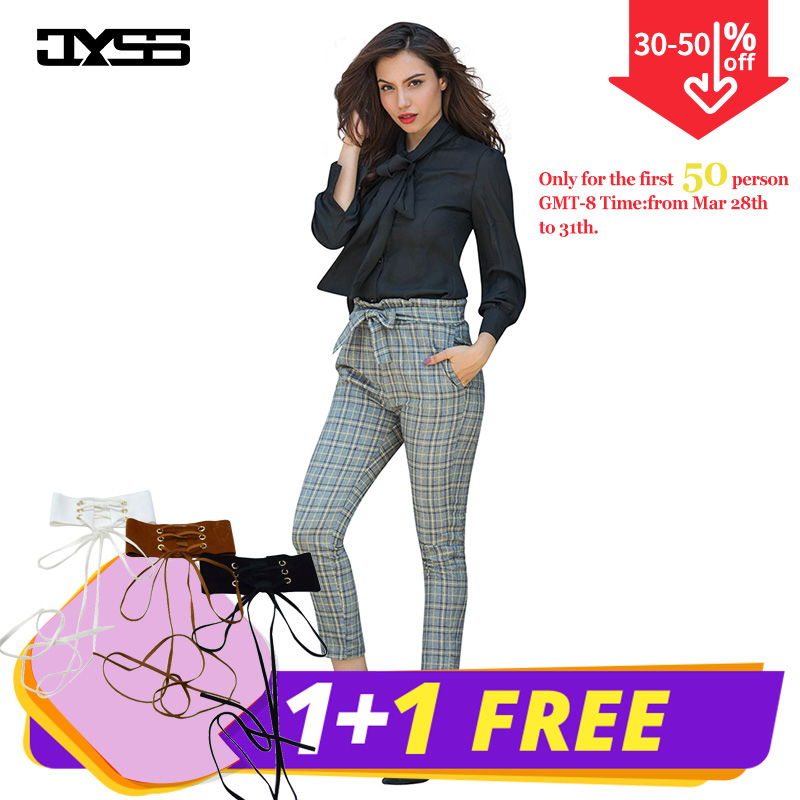 feec37ae6793e0 JYSS autumn new casual elastic waist pants women belt yellow gray plaid  pants long straight trousers
