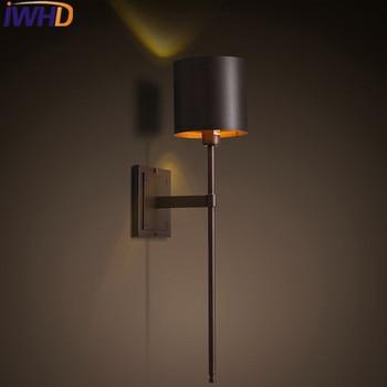 IWHD Vintage Retro Duvar Aplik led duvar Lambası Siyah Demir Çatı Endüstriyel Duvar aydınlatma armatürleri Merdiven Aydınlatma Yatak Odası Wandlamp