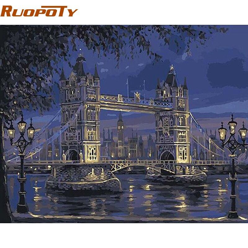 RUOPOTY Rahmen London Tower Bridge Landschaft DIY Malen Nach Zahlen ...
