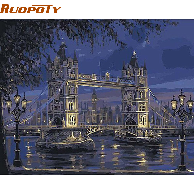 RUOPOTY Telaio London Tower Bridge Paesaggio Pittura di DIY Dai Numeri Dipinto A Mano Olio Pittura Della Decorazione Della Casa Per Il Regalo Unico 40X50 cm
