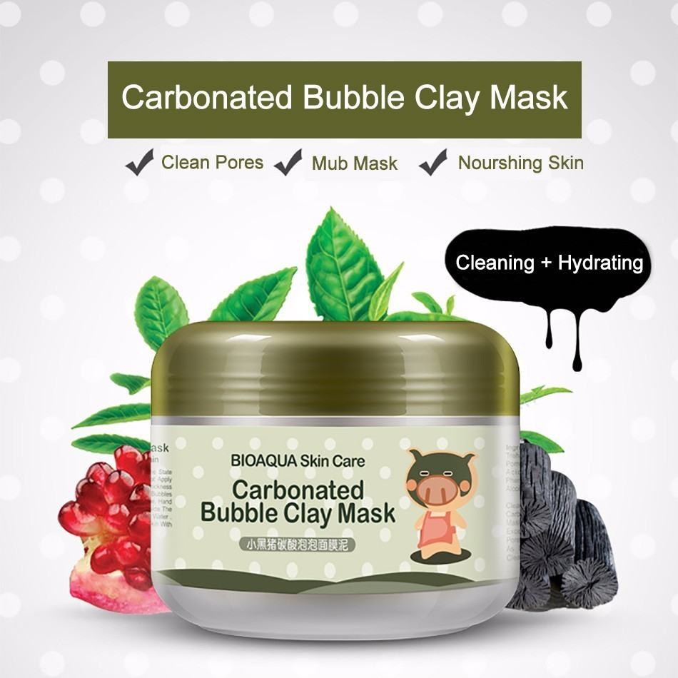 BIOAQUA Kawaii Black Pig Face Care Carbonated Bubble Clay Mask Winter Deep Cleaning Moisturizing Skin Care 100G