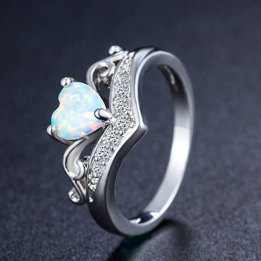 GEMIXI New Exquisite Womens Silver Ring Oval Cut Fire Opal Rings 4.30