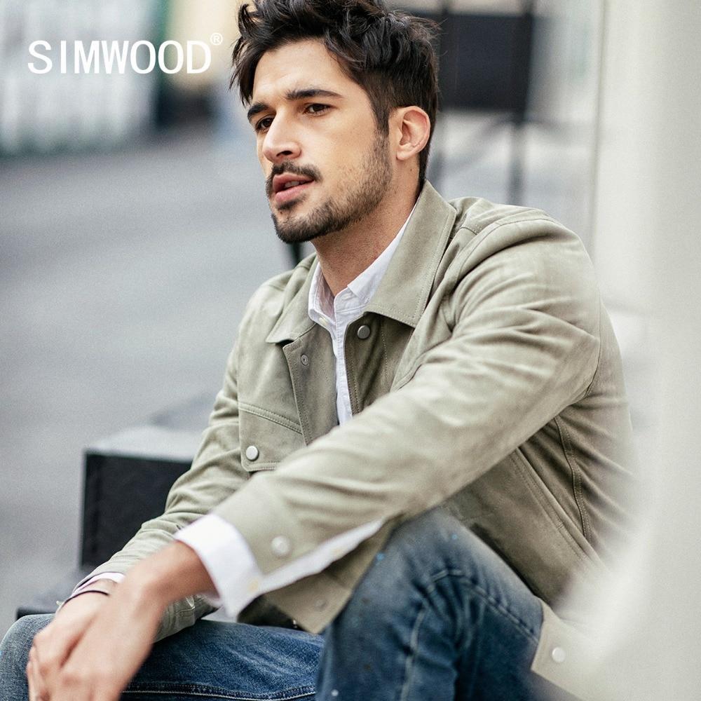 Simwood 2019 가을 뉴 자켓 남성 패션 스웨이드 자켓 남성 슬림 피트 숏 코트 고품질 플러스 사이즈 브랜드 의류 190100-에서재킷부터 남성 의류 의  그룹 1
