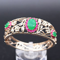 Gorgeous Hollow-out Exquisite Charm Gold Plated Green Zircon Bracelet Bangle For Women 2colors D03-2