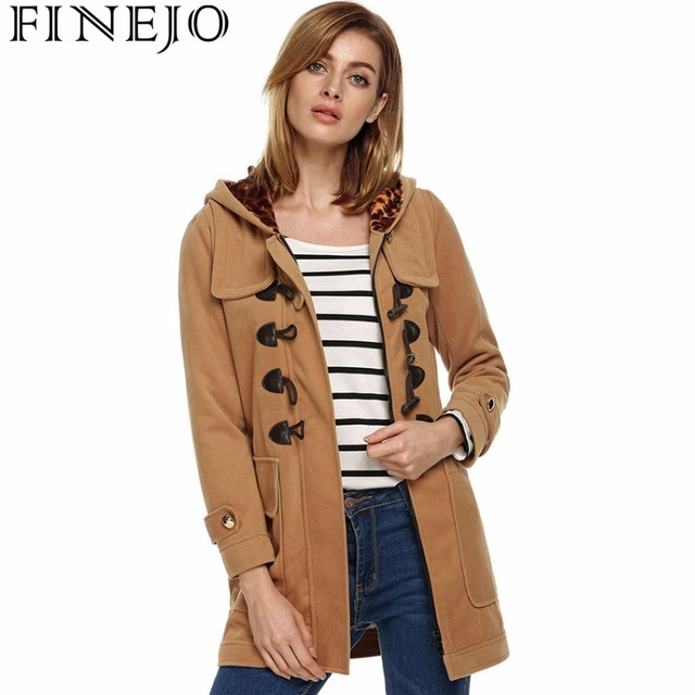 1b63cc7c918 FINEJO Female Casual Hoodies Wool   Blends Coat Vintage Horn Button Zipper  Pockets Long Sleeve Solid Woolen Coats Outerwear Tops