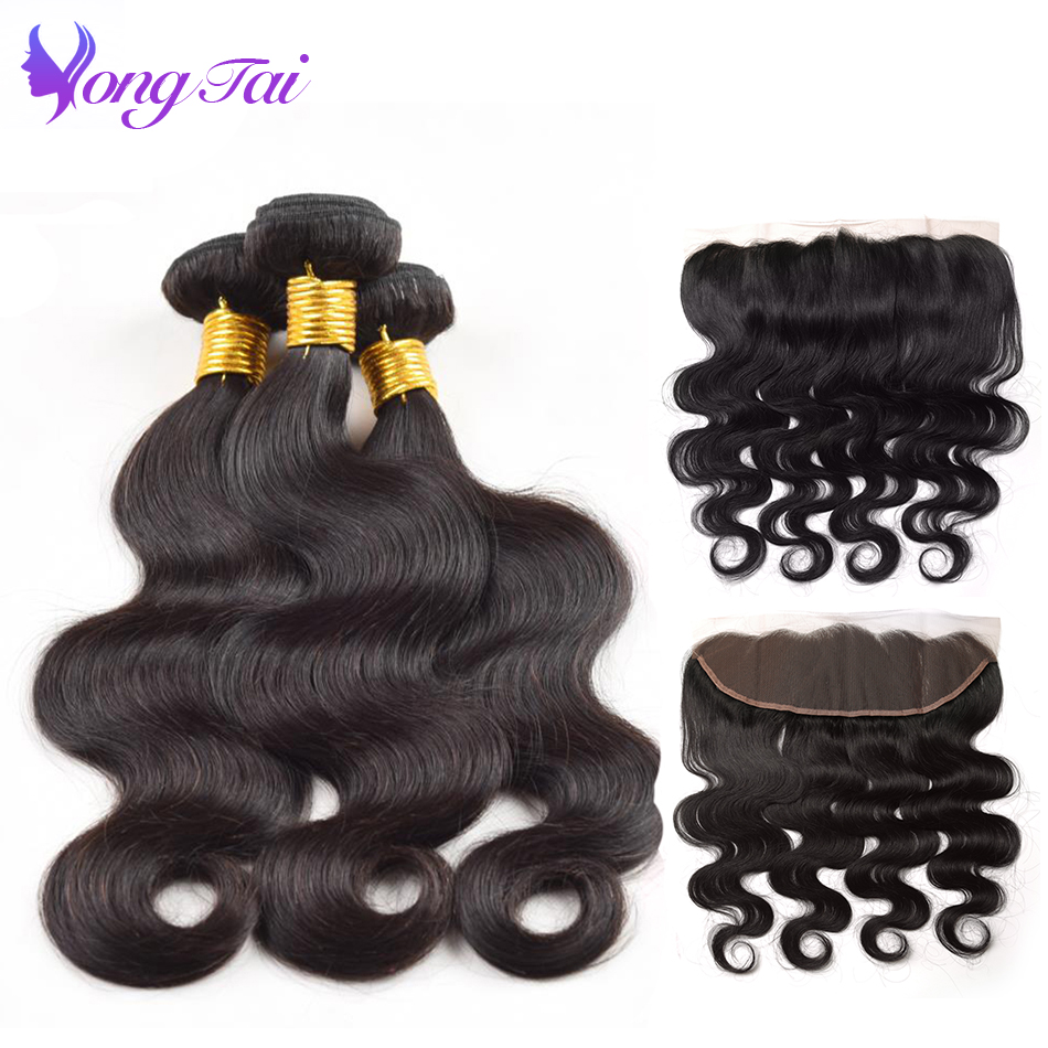 Malaysian Body Wave Bundles With Lace Frontal Closure 4 Bundles Yuyongtai Remy Human Hair Extension hair Vendors Shipping Fast