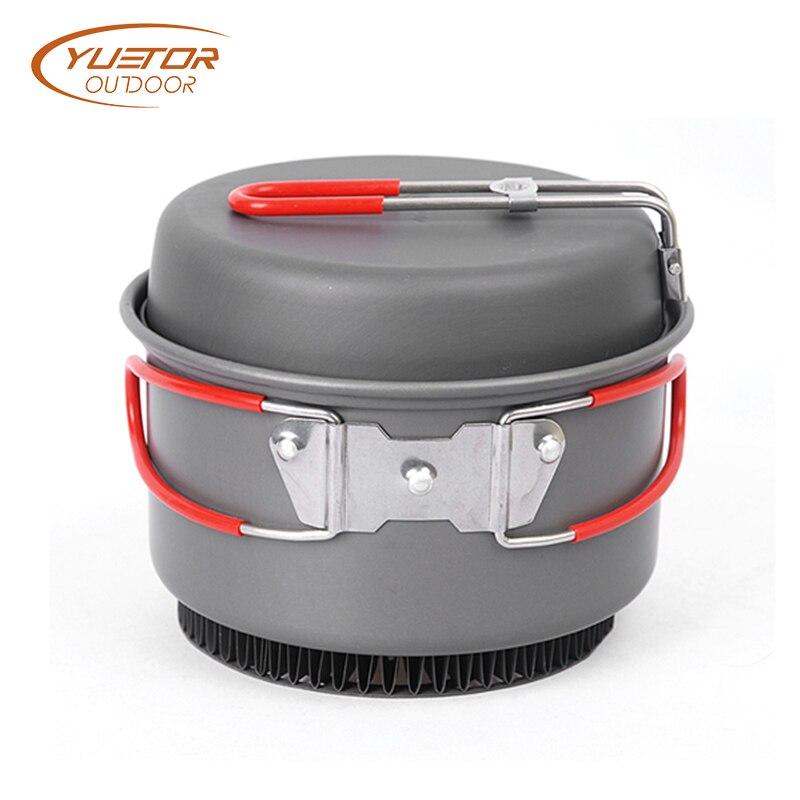 YUETOR extérieur 2 pièces 1 SET batterie de cuisine ensemble ultra-léger en titane Pot poêle en plein air Camping titane bol titane tasse pique-nique