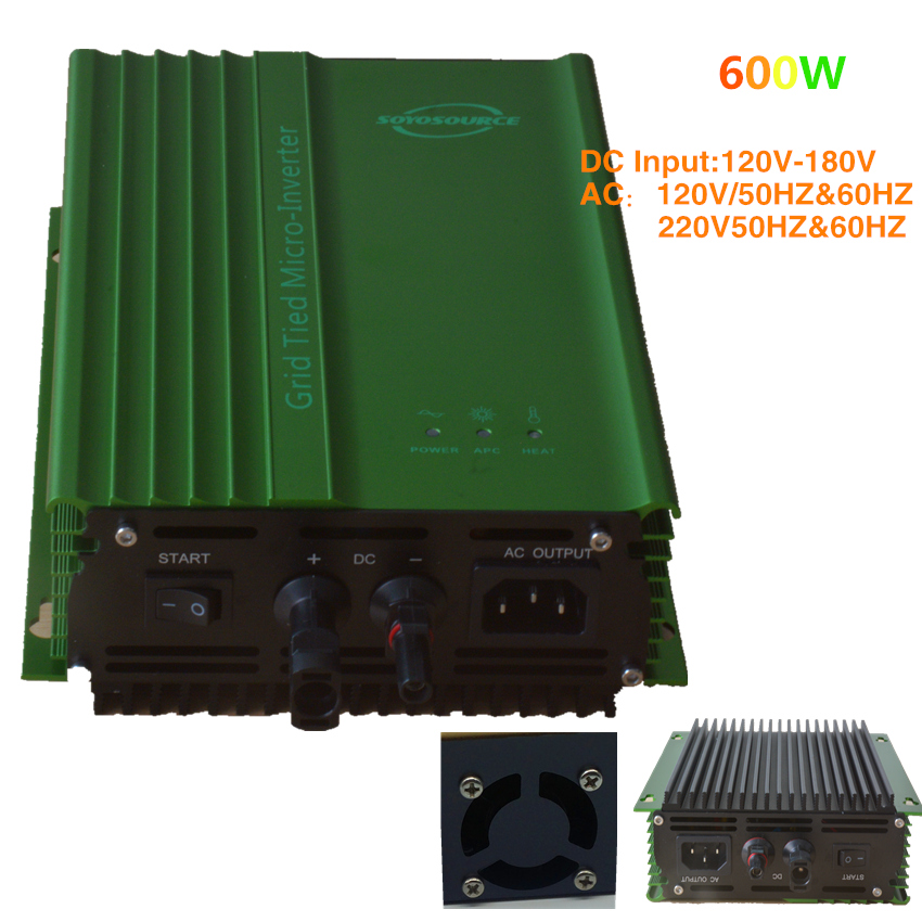 600 Watt Grid Tie inverter PV-Voc input 120V-180V solar inverters  AC120V or AC220V 50HZ or 60Hz  For 96V battery model 500w solar inverters 85 125v grid tie inverter to ac120v or 230v high efficiency for 72v battery adjustable power output