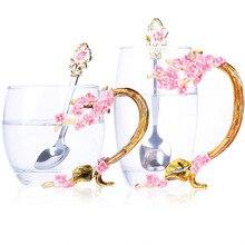 цена на Enamel color Tea Coffee Cup Plum Flower Teacup  Exquisite Gift Mug  Handmade European Romance Crystal Glass Cup Mother,s Gift F2